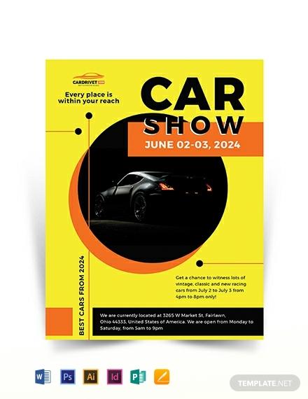 car show flyer template 440x570 1