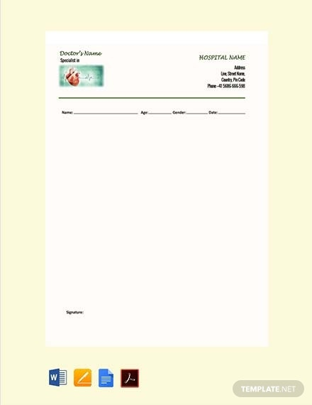 cardiologist doctors prescription template