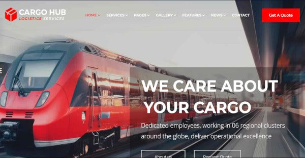 cargo hub wordpress theme with layered psd
