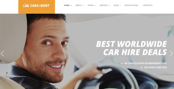 cars4rent revolution slider wordpress theme