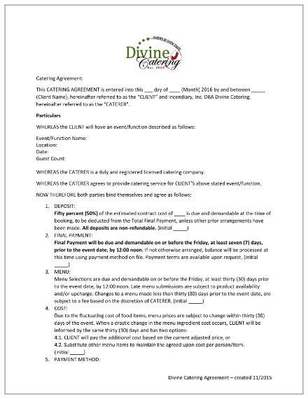 catering agreement contract template 1