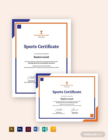 certificate of sports day template download