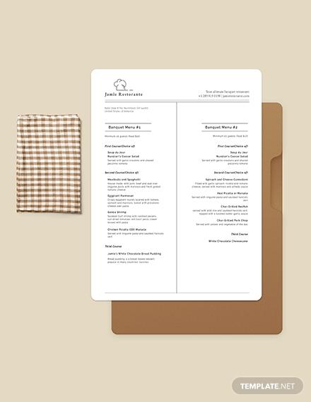 chalkboard banquet menu template