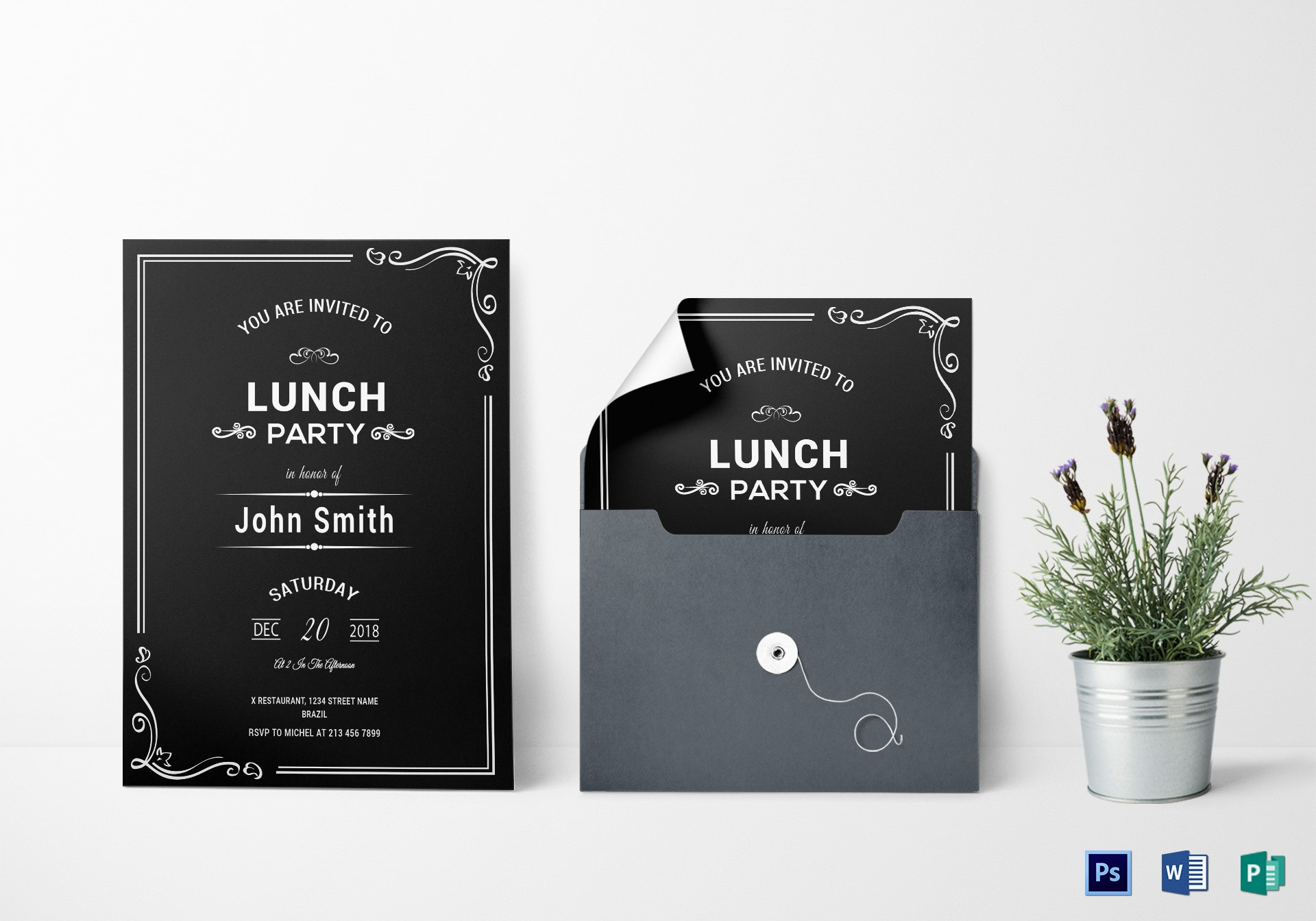 chalkboard rehearsal lunch invitation example