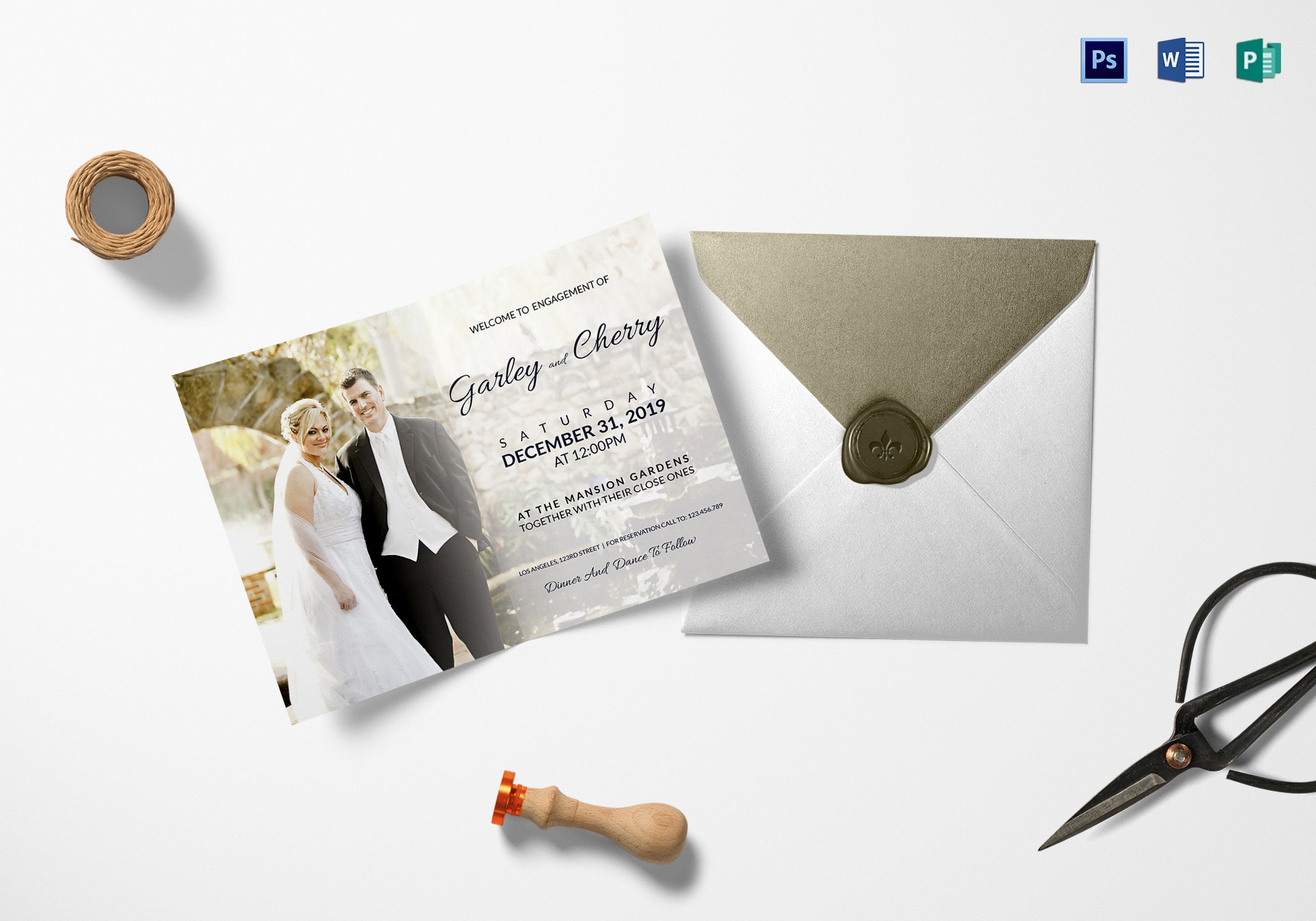 classy engagement invitation
