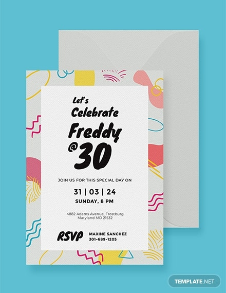 colorful birthday party invitation layout