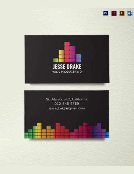 colorful dj business card