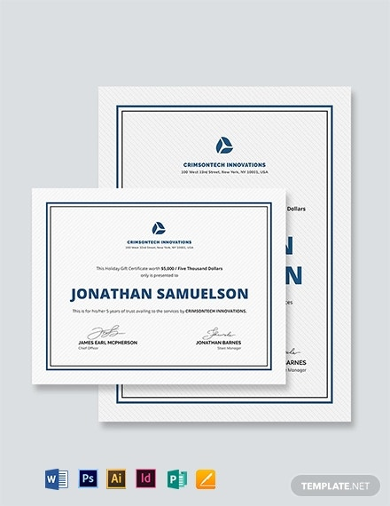 company holiday gift certificate example