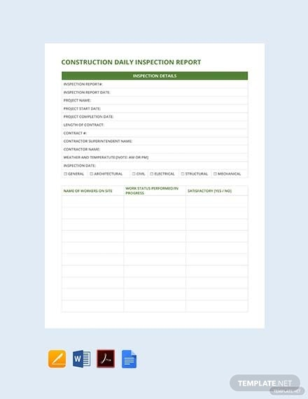 construction daily inspection report template