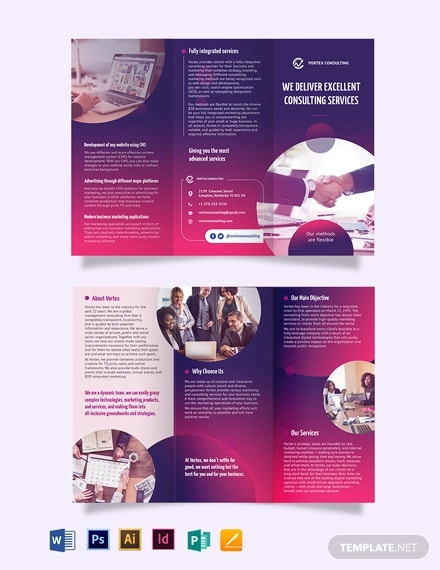 consulting services tri fold brochure template