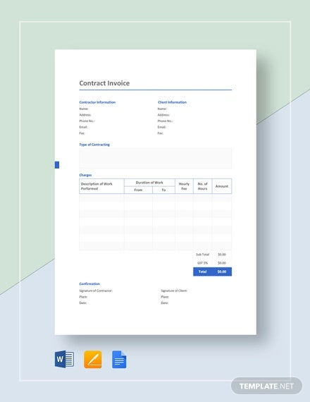 Contract Invoice Template 9 Free Word Excel Pdf Format Download Free Premium Templates