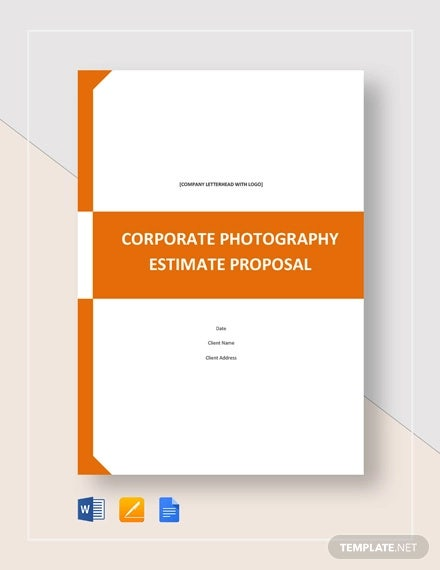 corporate photography estimate proposal template
