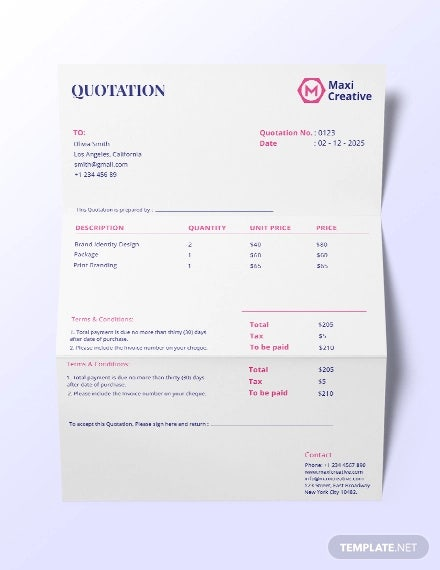 creative agency quotation template