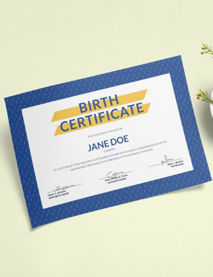 creative blue birth certificate template