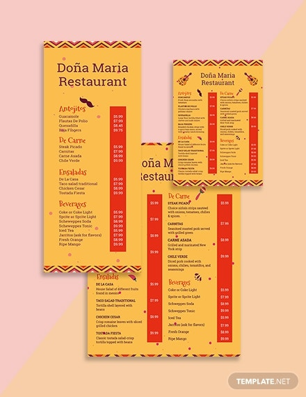creative mexican menu template