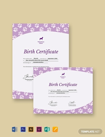 creative pet birth certificate format