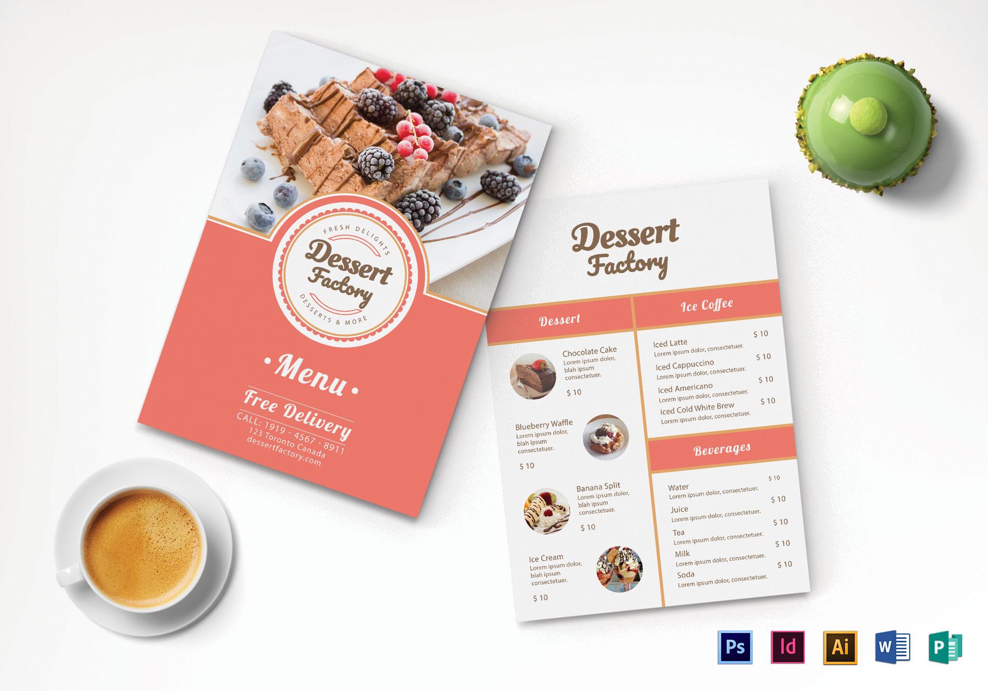 dessert menu mock up