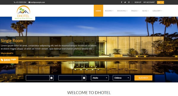 dhotel – hotel wordpress theme