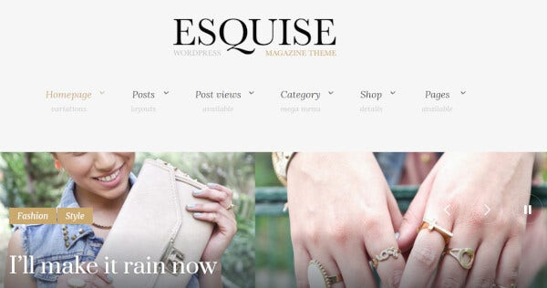 esquise magazine wordpress theme with style and passion