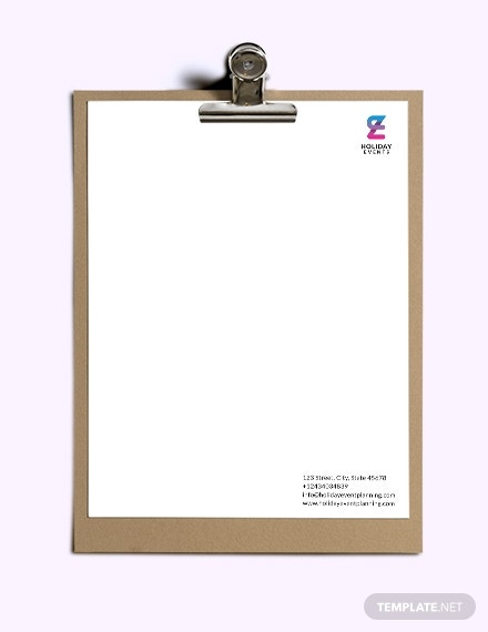 event planner letterhead sample