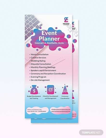 event planner rack card template