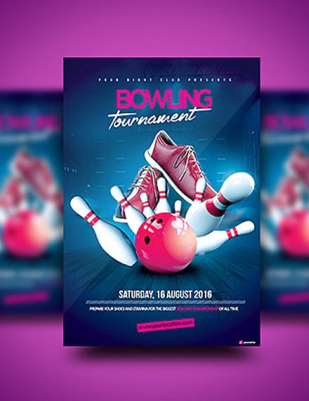 fancy bowling tournament flyer sample
