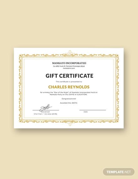 fancy style gift certificate format