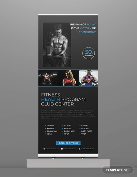 fitness center roll up banner layout