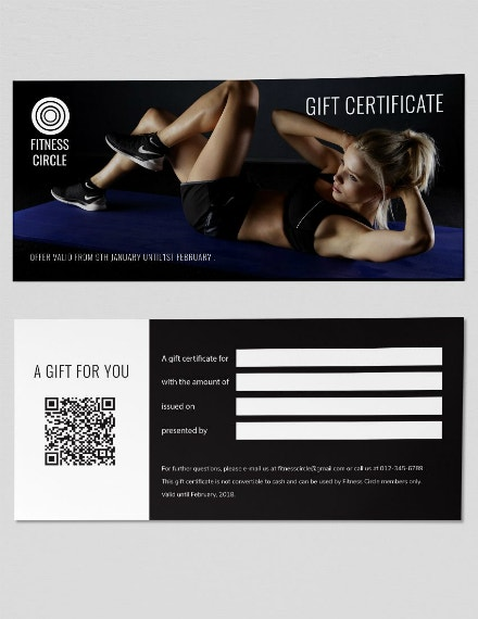 fitness circle gift certificate example