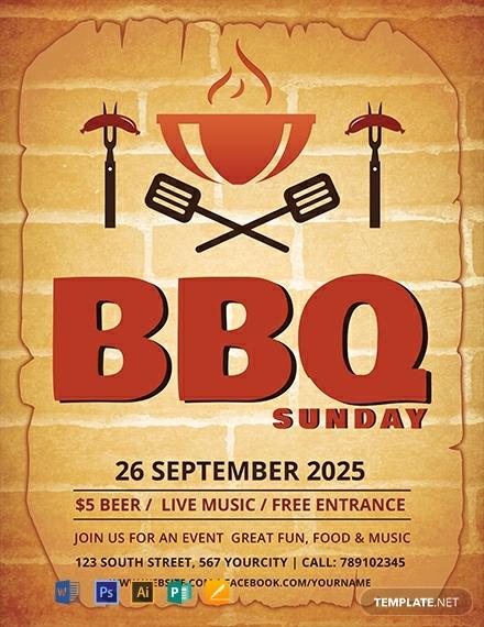 Flat BBQ Sunday Flyer Template
