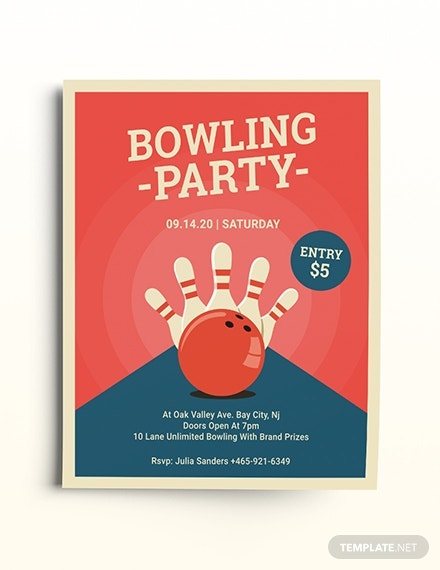 flat bowling party flyer template