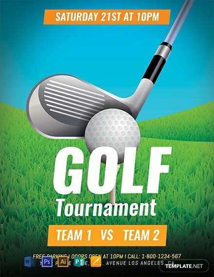 Flat Golf Tournament Flyer Sample