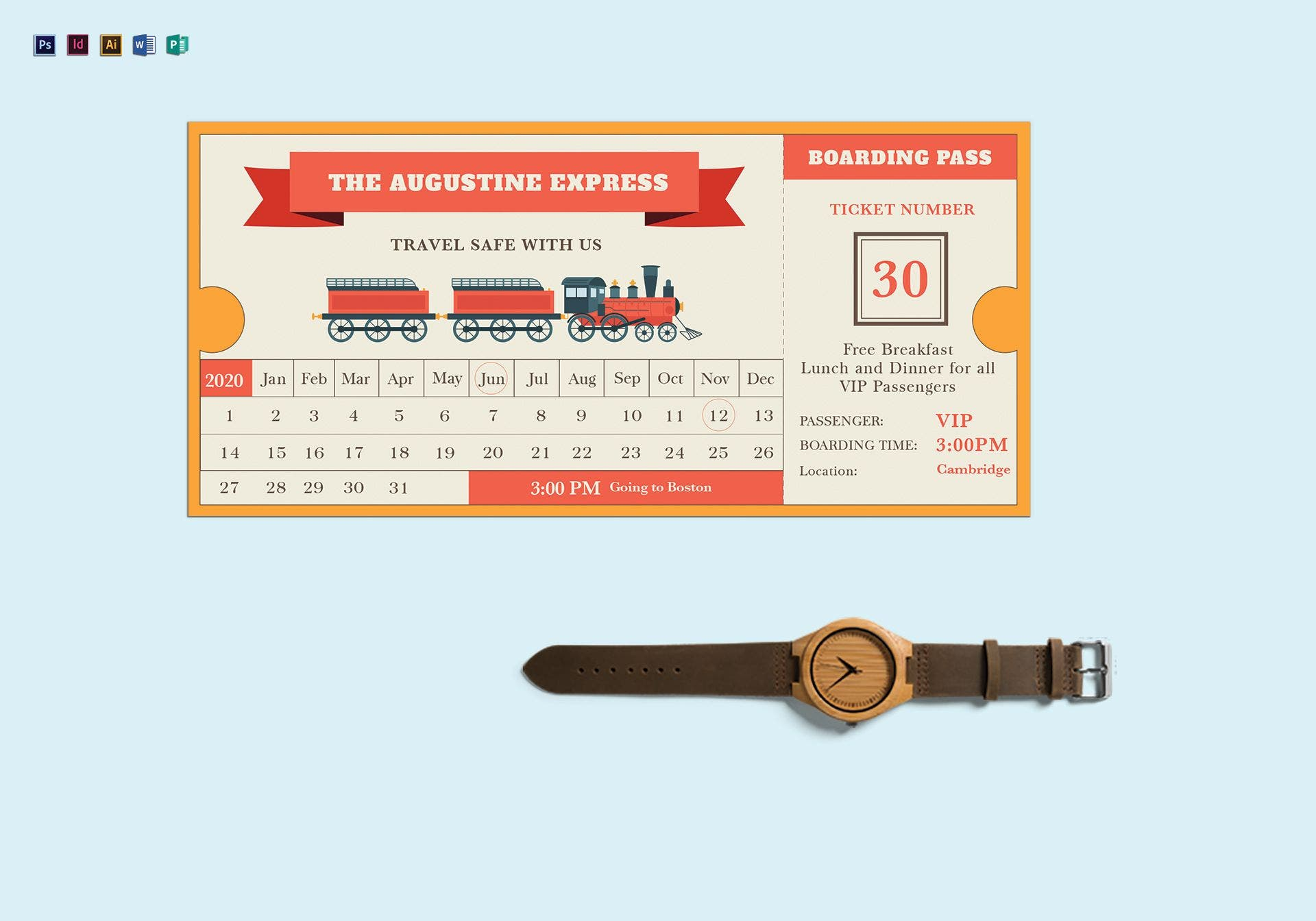 flat vector train ticket design