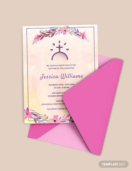 floral baptism invitation template