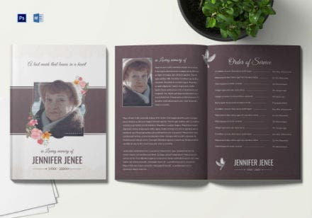 floral funeral program brochure invitation template