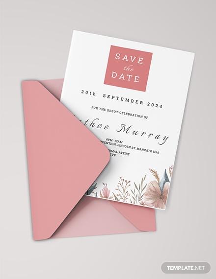 floral sample debut invitation card