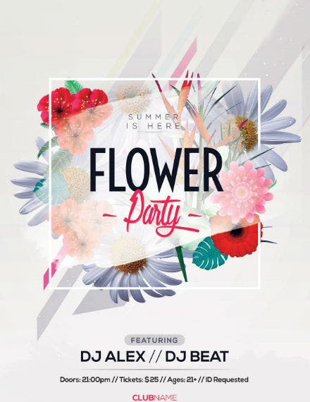 flower party flyer template