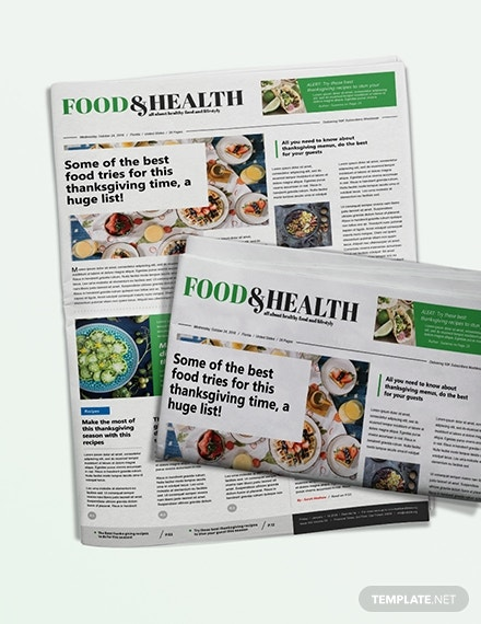 food and health newspaper template1