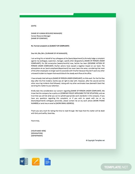 formal complaint letter to hr