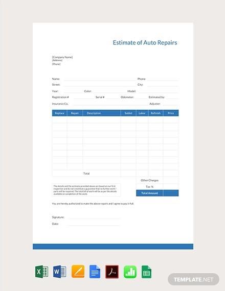 free auto repair estimate template