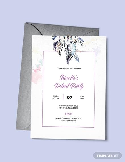 free boho debut invitation template