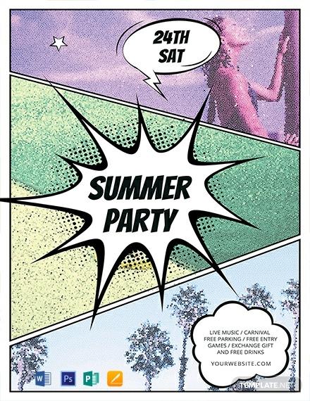 free comic summer flyer template