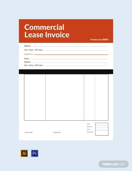 free commercial lease invoice template1