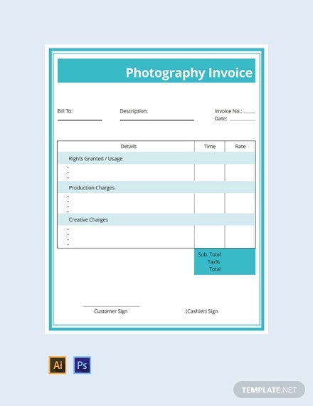 free commercial photography invoice template1