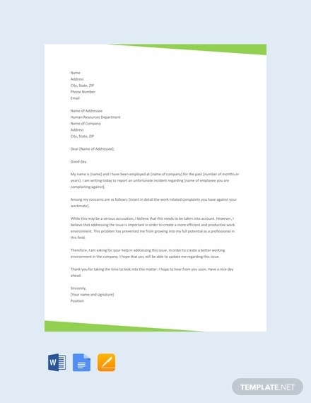 free complaint letter to hr template 440x570 1