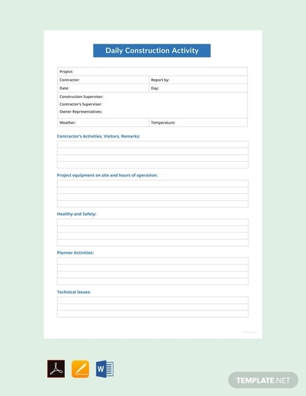 free daily construction activity report template 440x570 1