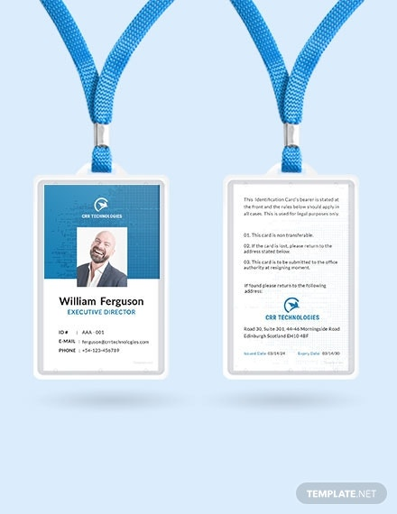 free employee id card template 1x