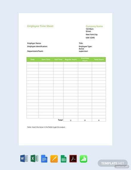 free employee timesheet template