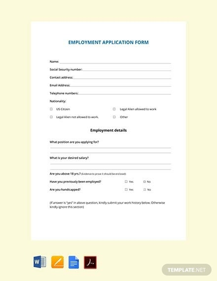 free employment application form1