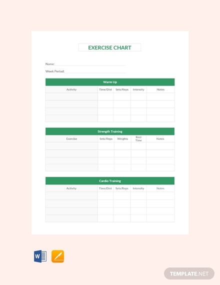 free exercise chart template